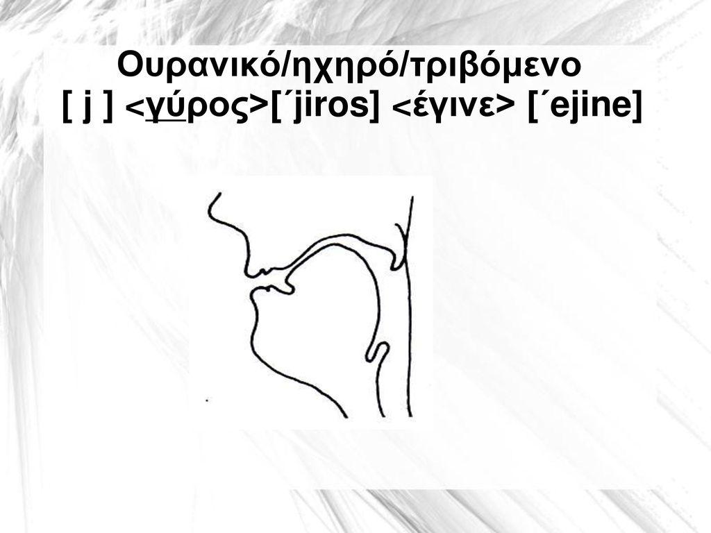 Ουρανικό/ηχηρό/τριβόμενο [ j ] <γύρος>[΄jiros] <έγινε> [΄ejine]